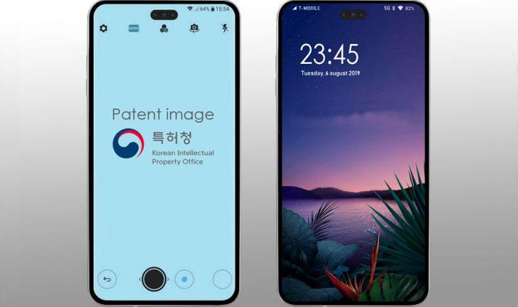 Teléfono inteligente LG con orificio en la pantalla para cámara selfie y sensores