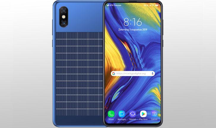 El panel solar proporciona al teléfono inteligente Xiaomi una batería llena